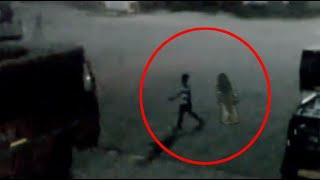 Mysterious Ghost Following A Kid Caught On Tape!! Ghost Sightings