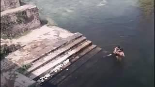 Ghost caught on Camera jumping in Pond! Ghost caught near Swimmers  Scary ghost encounters