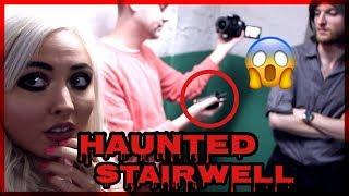 INSIDE THE HAUNTED STAIRWELL TALKING TO THE GHOST! | HAUNTED HOTEL