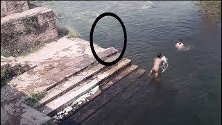 Spookiest Ghost caught on Camera jumping in POND!! Ghost caught near Swimmers: Creepy ghosts
