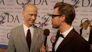 2014 CFDA Awards - Celebrity Stylist Brad Goreski Talks with John Waters on the Red Carpet