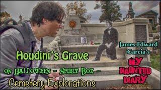 HOUDINI Grave on HALLOWEEN Spirit Box, Explore Abandoned Cemetery Office My Haunted Diary