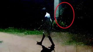 Strange Ghost Following A Man At Night Caught On Camera!!