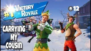 Carrying My Cousin To A Win In Fortnite Battle Royale!