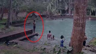 OMG The ghost just Passed Near those children | Real Ghost Sighting From Pond | Scary Videos