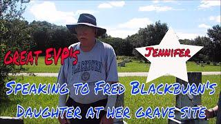Jennifer gives her dad a message at her grave site