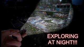 EXPLORING ABANDONED BUILDING AT NIGHT! (SWIMMING POOLS)