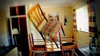 Poltergeist Activity Caught on Tape. Paranormal Entity Caught Stacking Chairs.