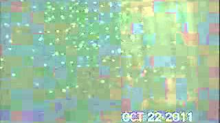 Shadow breaks plain of laser grid at Fort Wayne, Detroit October 2011