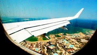 Landing at Hurghada International Airport, Egypt. EgyptAir Embraer 170