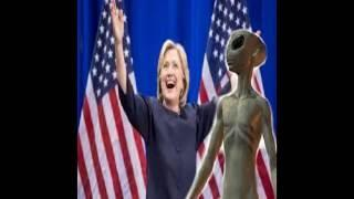HILLARY CLINTON SHAKING HAND WITH GRAY ALIEN AREA 51